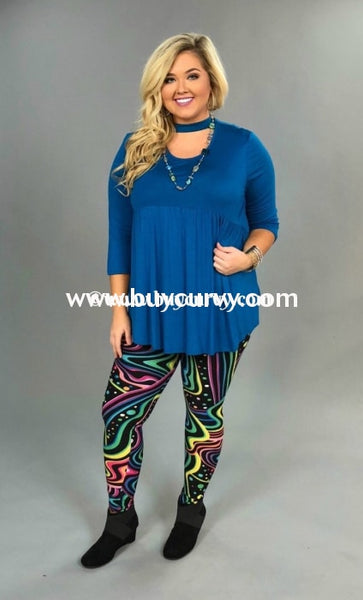 Leg/sss Black & Multi Print Soft Vibrant Neon Leggings