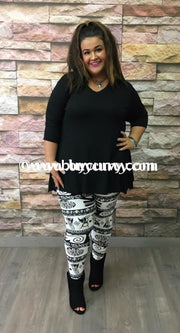 Leg/sss-Black/ivory Egyptian Microfiber Leggings