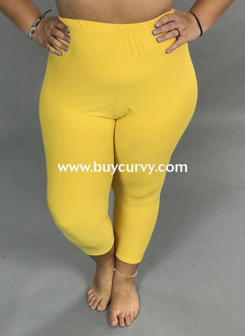 Leg/sss-Dark Yellow Capri Leggings With Elastic Waistband (Soft!)