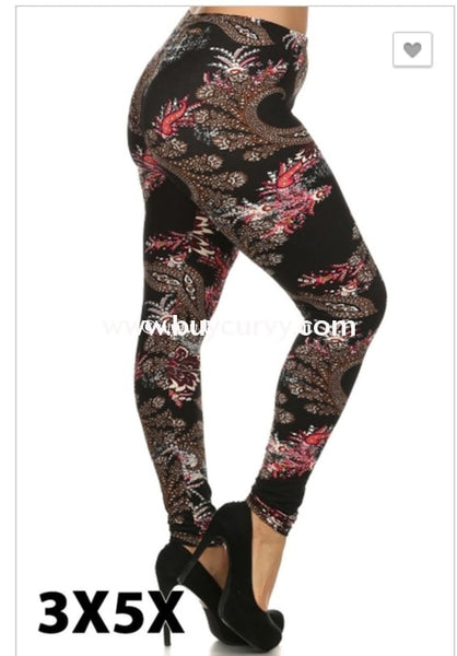 Leg/sss-{Extended Plus} Black Leggings With Multi Paisley
