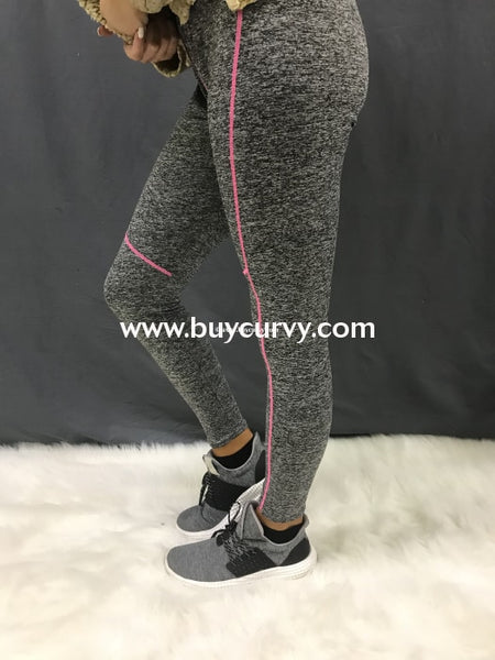 Leg/sss- Gray Two-Tone Athletic Leggings With Pink Lining Detail