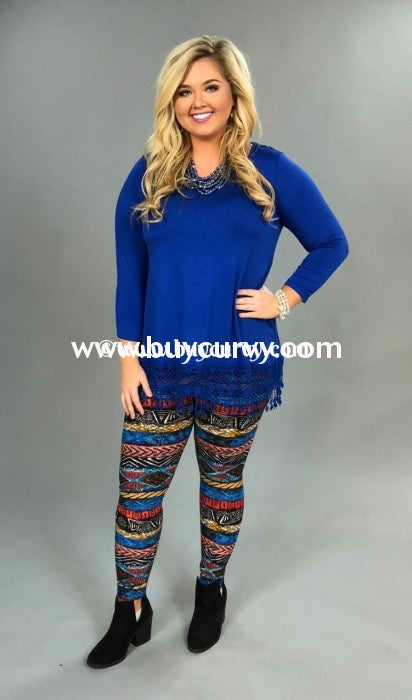 Leg/sss -Kyra Blue/rust Tribal Print Leggings