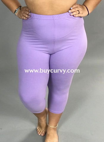 Leg/sss-Lilac Capri Leggings With Elastic Waistband (Soft!)