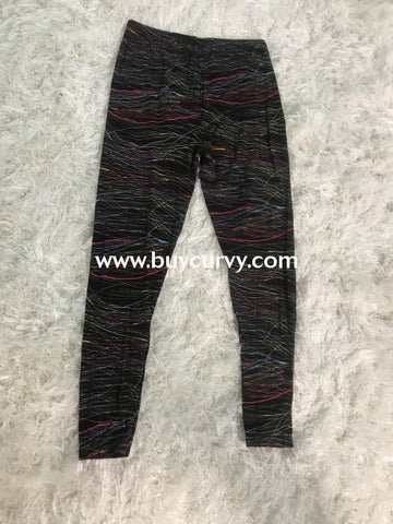 Leg/sss Multi Color Striped Neon Print Leggings