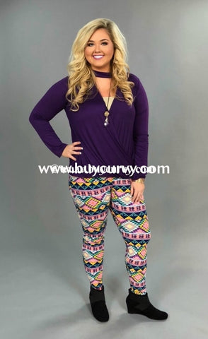 Leg/sss-Pink/purple Aztec Microfiber Leggings