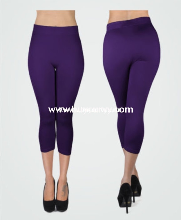 Leg/sss-{Purple} Capri Leggings 92% Poly/8% Spandex