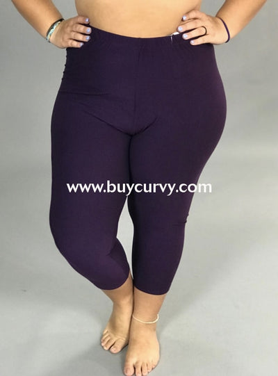 Leg/sss-Purple Capri Leggings With Elastic Waistband (Soft!)