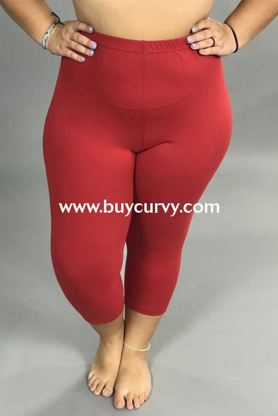 Leg/sss-Tango Red Capri Leggings With Elastic Waistband (Soft!)