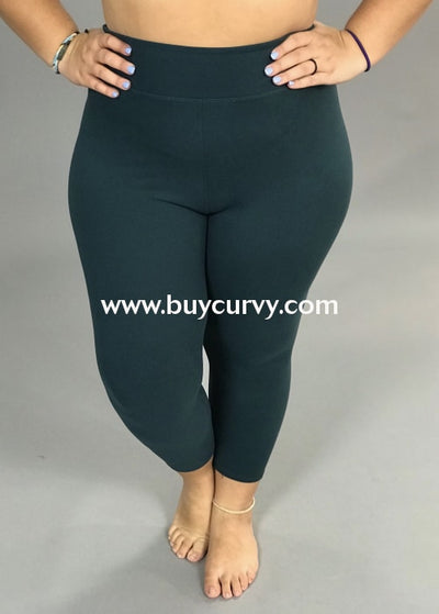 Leg/sss-Teal High Waistband Yoga Capri Leggings (Butter-Soft)