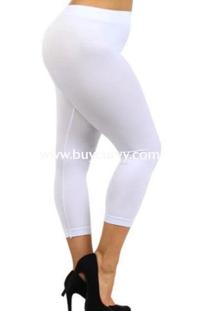 Leg/sss- White Leggings Capri Cotton/spandex (1X2X3X) 3X