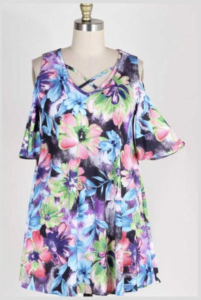 OS-P {Match It Up} Floral Criss Cross Tunic