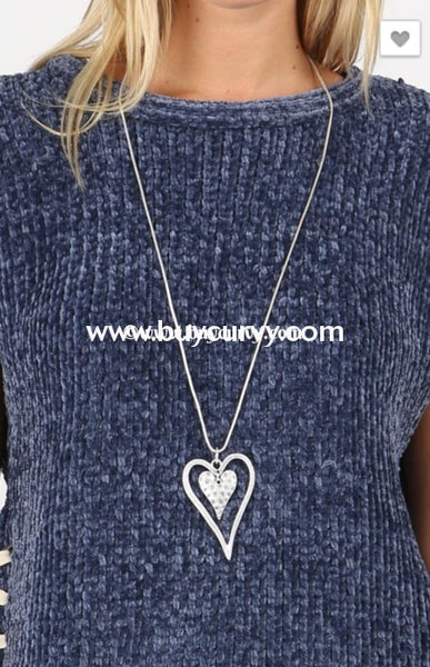 Nc-A Adorable Long Silver Necklace With Double Heart Pendant