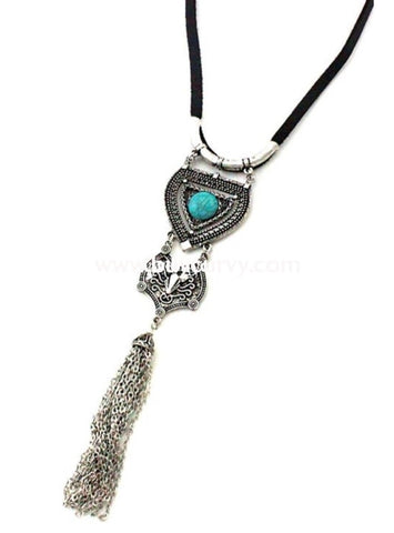 Nc-A Black Necklace With Silver Tassel & Teal Stone