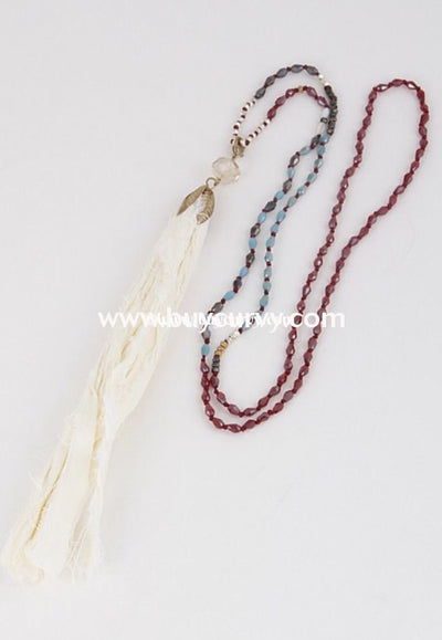Nc- A Burgundy & Turquoise Beaded Necklace With Tassel