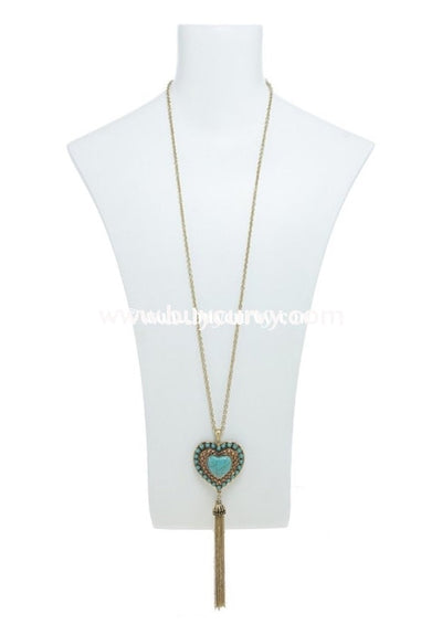 Nc- A Gold 33 Necklace With Teal Heart Pendant And Tassels