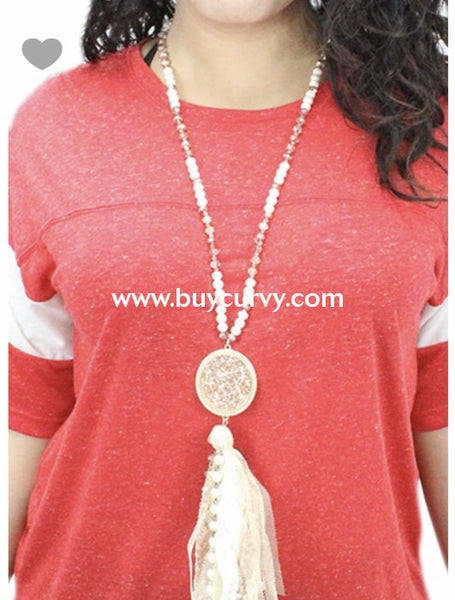 Nc-A Gold & Ivory Beaded Long Tassel Necklace W/ Pendant