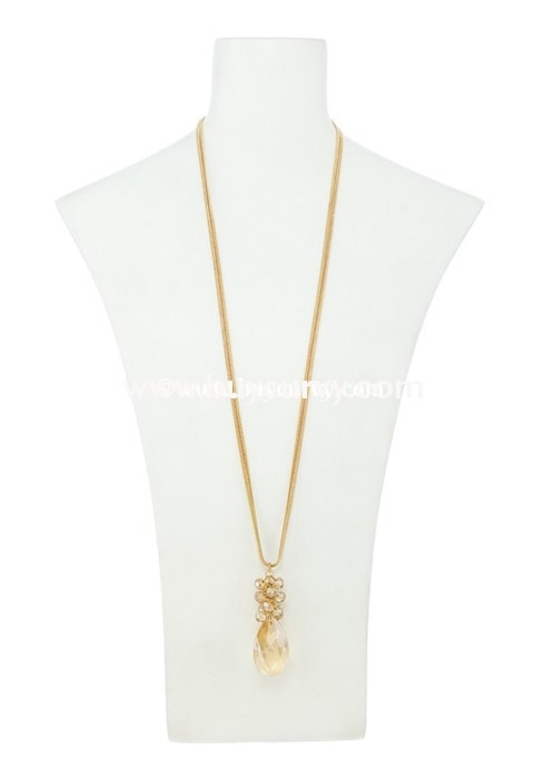 Nc- A Gold Multi-Stranded Necklace With Iridescent Pendant