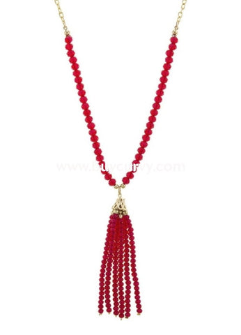 Nc-A Gold Necklace With Ruby Beaded Detail And Tassel