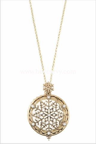 Nc-A Gold Snowflake Necklace With Locket/magnifying Glass