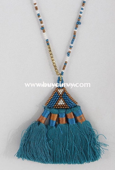 Nc-A Gold Turquoise Pyramid Tassel Charm Necklace