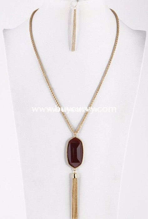 Nc-A Gold/burgundy Oval Antique Stone Necklace Set