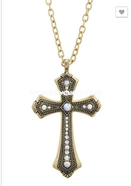 Nc-A Long Gold Chain Link Necklace With Diamond Cross