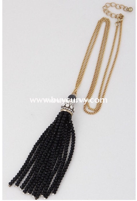 Nc-A Long Gold Necklace With Beaded Black Tassel