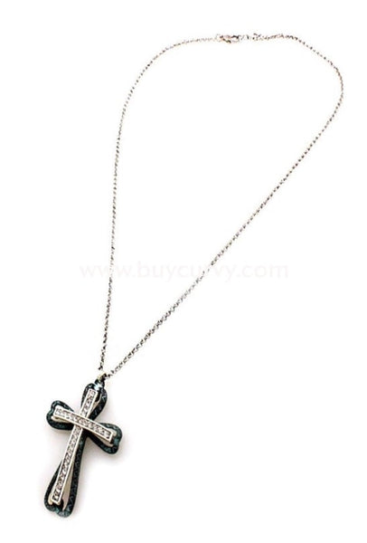 Nc-A Long Rhinestone Teal Cross Necklace