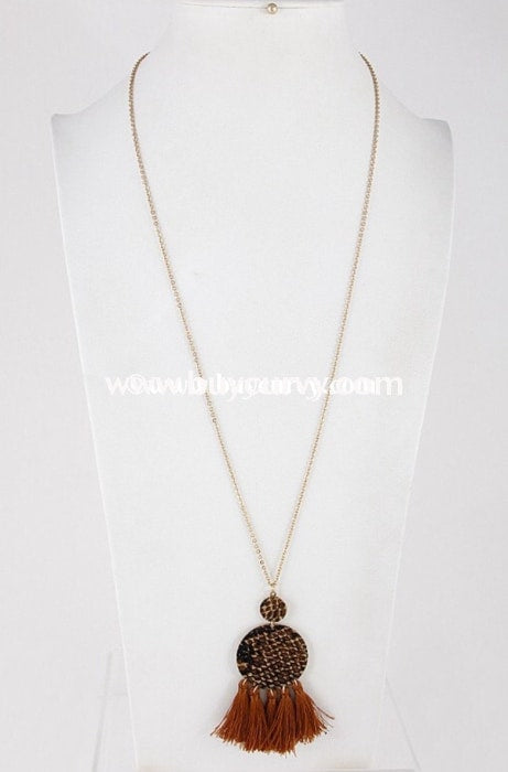 Nc- A Long Round Circle Snakeskin Tassel Brown Necklace