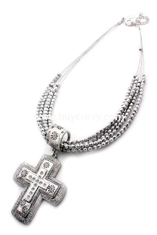 Nc-A Story Silver Cross Necklace With Earrings