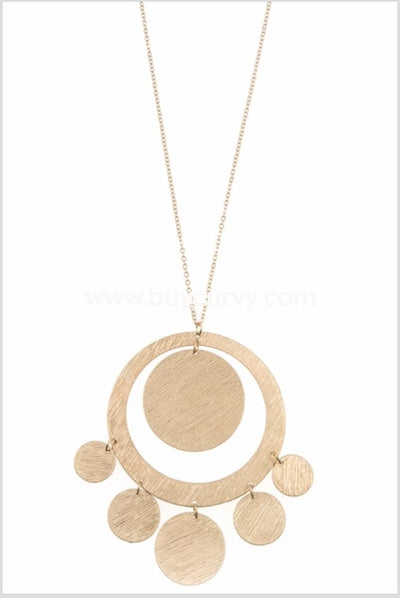 Nc-A {Thats So Retro} Gold Necklace With Circle Pendant
