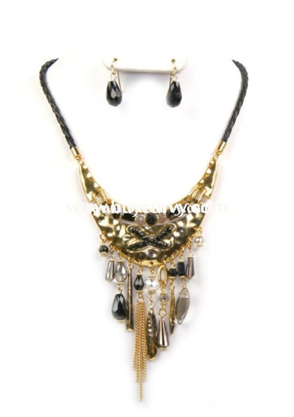 Nc-B Black Gold Tassel Necklace With Earrings