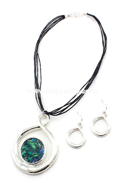 Nc-B Black Multi Strand Necklace Green/blue Center