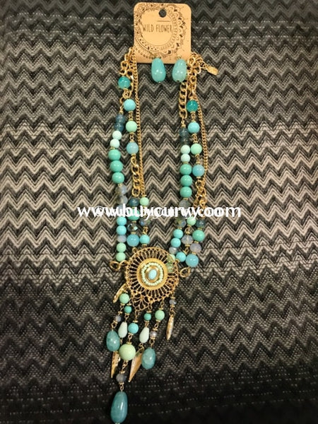 Nc-B Blue/teal Gold Medallion Necklace