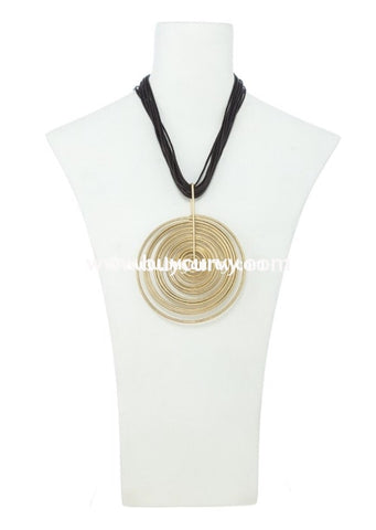 Nc-B Brown Multi Strand Necklace With Golden Circle Pendant