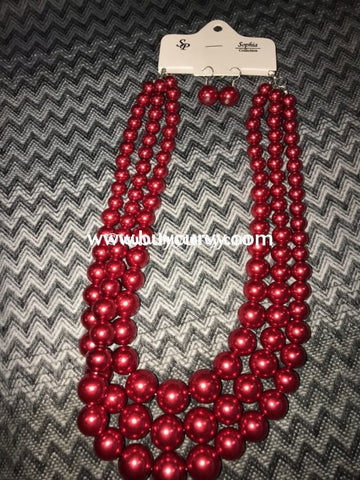 Nc-B Burgundy 3 Layer Pearl Necklace W/ Earrings