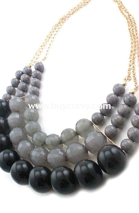 Nc-B Charcoal/black Gold Necklace & Matching Earrings