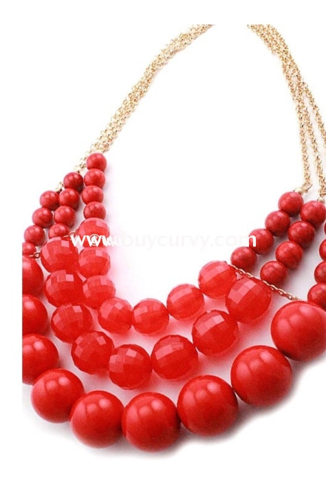 Nc-B Cherry/red Gold Necklace & Matching Earrings