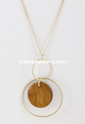 Nc-B Gold Chain Circle With Wood Center Necklace