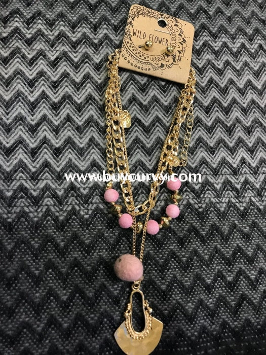 Nc- B Gold Multi Necklace With Pink Pom Poms