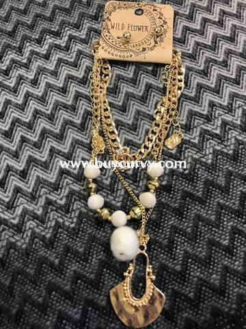 Nc-B Gold Multi Necklace With Pom Poms