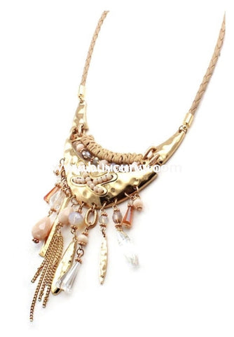 Nc-B Ivory Gold Tassel Necklace With Earrings