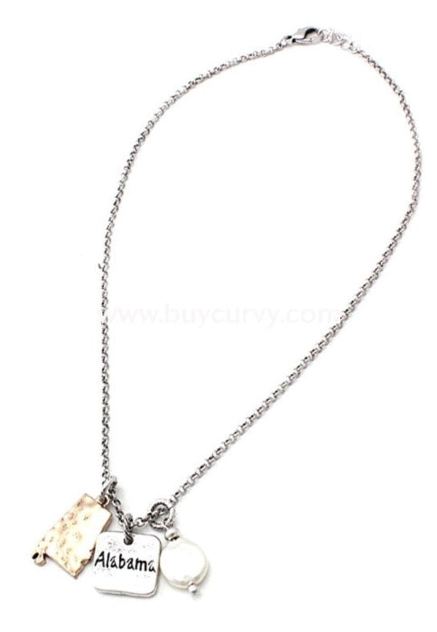 Nc- B Silver Alabama State Charm Necklace