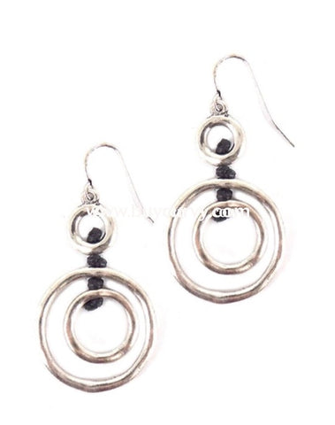 Nc-B Silver Circular Necklace With Earrings