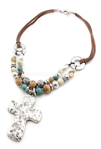 Nc-B Silver Hammered Cross With Brown & Teal Beads Necklace