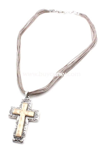 Nc-B Silver Necklace With Gold Cross