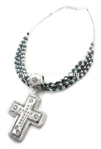 Nc-B Silver/teal Rhinestone Cross Pendent Necklace