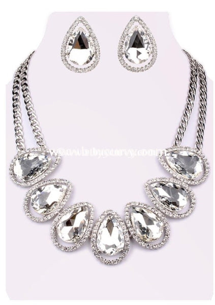 Nc-B Sophia Rhinestone Necklace & Earrings