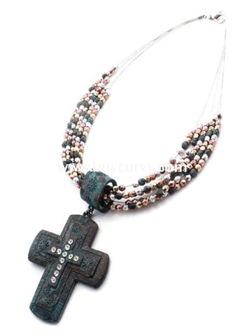 Nc-B Story Turquoise Cross Necklace Earrings