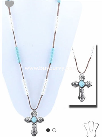 Nc-B Teal & Pearl Silver Cross Pendant Brown Necklace